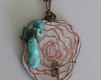 Hand Made Stoneware Pendant Necklace Pink rose Vintage Turquoise Copper #1