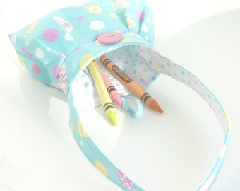 tiny Easter purse. baby girl presents. pastel toddler girl crayon bag. yellow pink green blue cute gifts under 25. twin first birthday purse