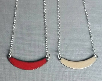 Red and Tan Necklace, Reversible necklace, Flame Red and Nut Brown, Sterling Silver Chain and Lobster Clasp 16  18 in