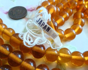 12 Vintage Transparent 9-10mm Topaz Smooth Round Glass Japan Beads C45