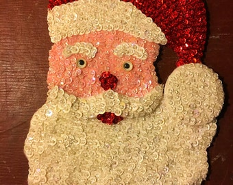 Vintage SEQUINED SANTA CLAUS Head Applique Handmade Beaded Sewn Christmas Ornaments Patches Ugly Sweater Stocking Decor St. Nicholas Kringle