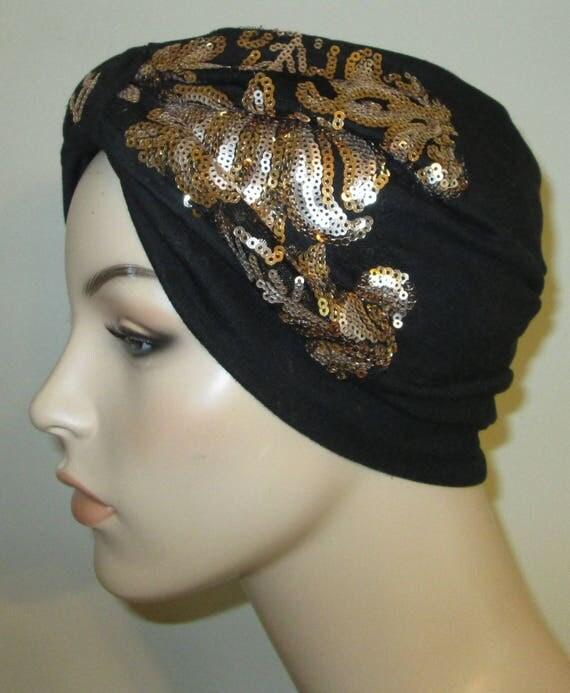 Elegant Black Sequin Knit Turban, Chemo Hat, Womens Hat