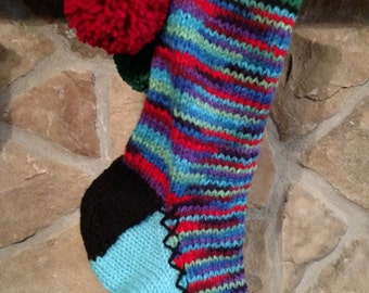 Old Fashioned Hand knit Christmas Stocking Turquoise Purple Red Blue Green Heartfelt Snowflake detail