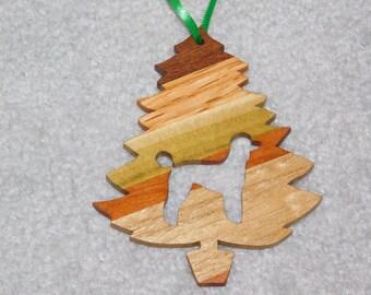 Wood Christmas Tree Dog Ornament -  Plain Poodle