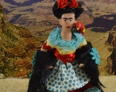 Frida Kahlo, Doll Miniature, Mexican Artist, Caricature Art,  Self Portrait Painter