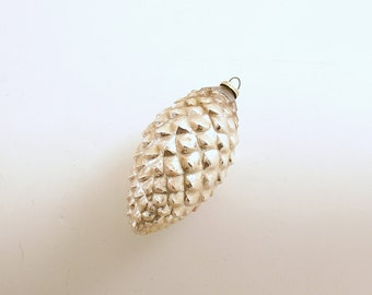 Vintage Christmas Ornament Silver Pine Cone Ornament Glass Ornament