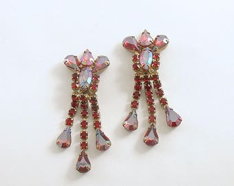 Vintage Earrings Rhinestone Dangles Clip Ons