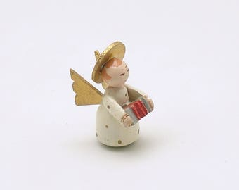 Vintage Christmas Decoration Wood Angel Accordian Italy