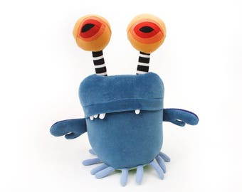 """Stuffed Monster """"Wencil Space Crab"""" Cotton Monster Recycled OOAK Plush"""