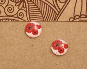 10pcs handmade red flowers glass dome cabochons 12mm (12-1032)