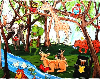 fine art print animals forest animals reading green blue brown from my original painting 17 by 11 inches kids wall art home decor