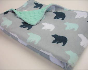 Bears Navy Mint Gray Double Sided Minky Baby Blanket You Choose Size MADE TO ORDER