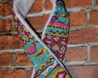 deluxe Plush  Camera Strap Cover with minky backing Magenta / Turquoise / Green AZTEC  Ruffled Patchwork