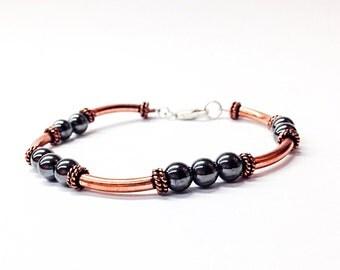 mens hematite bracelet - copper bracelet - anniversary gift for men - gray bead bracelet -7th - 11th - 22nd -copper jewelry-hematite jewelry