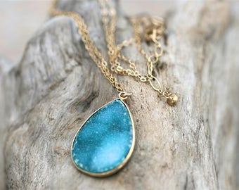Teal Blue Druzy Crystal, Gold Filled Pendant Necklace, Druzy Jewelry, Blue and Gold Necklace