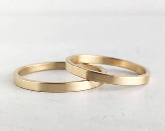 Brushed Finish Gold Wedding Band Set | 2mm and 2mm x 1.3mm yellow gold rings | Rustic wedding bands 10k 14k 18k recycled gold