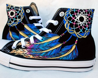 Dreamcatcher Shoes - Hand Painted - Converse High tops - Black