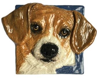 Beagle Dog Tile Ceramic Pet Portrait Sculpture 3D Dog Art Tile In Stock Ready to ship