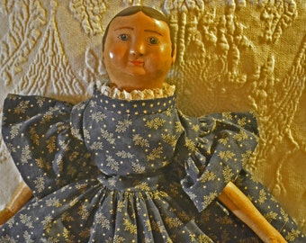 "Reproduction IZANNAH WALKER Doll ~ (I.W. in Navy Blue dress) 17"" tall"