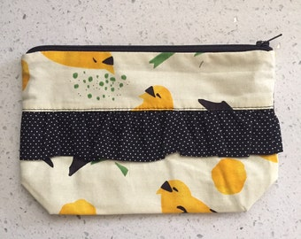 Bird Ruffle Zip Pouch - Yellow