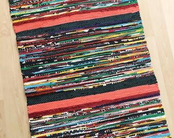 POTPOURRI -- Handwoven multicolored rug with stripes