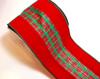 Christmas Ribbon, Offray Edinburg Wired Fabric Ribbon 4 inches wide x 10 yards, Full Bolt of Red Plaid Ribbon