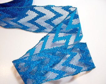 Blue Ribbon, Glitter Wired Fabric Ribbon 2 1/2 inches wide x 10 yards, Full Bolt of Offray Turquoise Elyria Ribbon