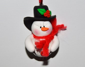 Snowman Jingle Bell Polymer Clay Christmas Ornament