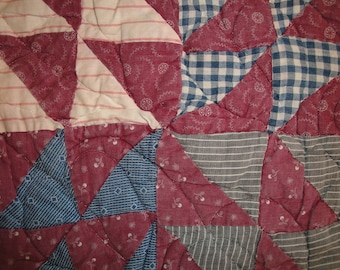Antique Quilt Piece | Vintage Quilt Piece |  Old Cutter Quilt Piece | 9.5 x 10 Piece of Old Quilt
