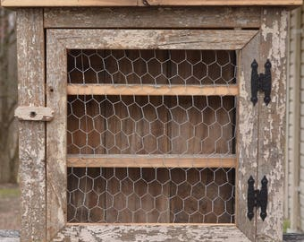 Barn wood Spice / Bathroom Cabinet with Chicken Wire Door & Chicken wire cabinet | Etsy Pezcame.Com