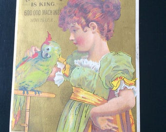 Victorian Trade Card Red Headed Girl with Exotic Green Bird Parrot, Bufford Litho, White Sewing Machine