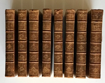 1730 Plutarch's Lives in Eight volumes, S. Hyde, E. Dobson, & R. Owen, Dublin, Ireland. First Dublin Edition