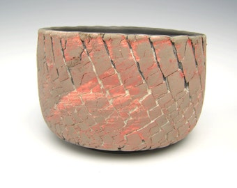 Contemporary succulent planter red grey raku cactus planter pot bonsai planter ceramic pottery planter  5 3/4 x 4 r4