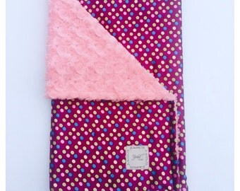 BABY GIRL BLANKET / Purple multi color dots satin print with soft plush coral minky, Minky baby blanket, Unique baby shower  gift/ baby gift