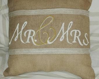 Mr. & Mrs. Burlap Pillow Wrap
