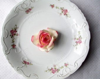 Vintage Serving Platter Touraine Pink Green Floral Round