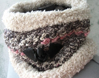 Womens Crochet Neck Wrap Pattern With Faux Fur And Leather Toggle Trim Teen Crochet Neck Warmer Pattern Trim Instant Download One Size