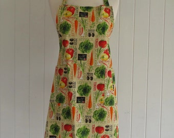 Adult BBQ Style Apron , Vegetables on Cream , Olives , Tomatoes , Carrots , Teens Apron , Full Apron , Butcher Style , Bridal Gift