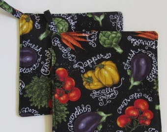 Pot Holders , Set of 2 , Hot Pads , Trivets , Insulated, Quilted ,Vegetables on Black, Eggplant, Carrots , Artichokes