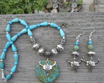 Magnesite and Turquoise Necklace and Earring Set