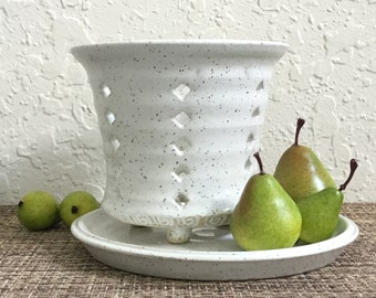 Ceramic Berry Bowl - White Colander - Handcrafted Strainer - Stoneware Berry Cup