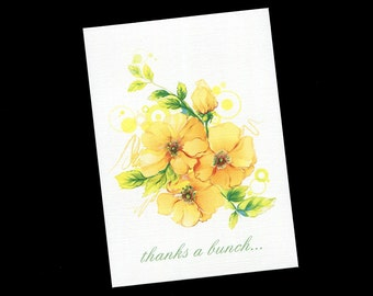 Thank You Cards - Bridal Shower - Wedding - Blank Thank You Cards - Yellow Flowers - Note Cards - Floral