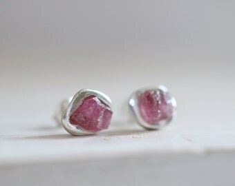 Rubelite earrings. Sterling silver studs with raw Rubelite. Rubelite studs, Pink Tourmaline studs, Raw Rubelite studs, crystal studs.