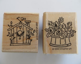 Two Rubber Stamps With Birdhouse & Flower Basket