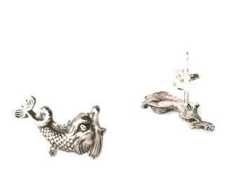 Mythic Creature Miniature Dolphin Stud Earrings