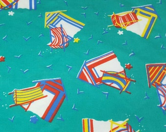 vintage 80s cotton fabric, featuring kitschy summer beach chair print, 1 yard, 17 inches