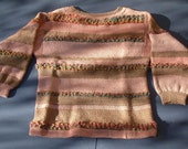 Pink and Brown Striped Pullover