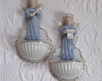 holy water font . angel holy water font . lot of 2 . made in Japan