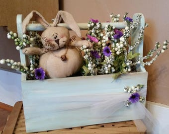 Spring Rustic Wood Tool Tote Box -Berries, spring daisies and a cute chubby bunny. Easter Home decoration