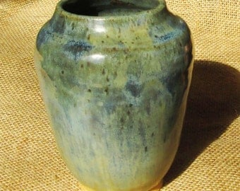 Pottery Vase -  Green, Blue, and Brown